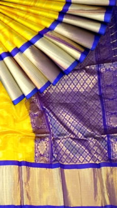 Yellow & Royal Blue Pure Kuppadam Saree with Thick Zari Border-yespoho