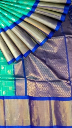 Sea Green & Royal Blue Pure Kuppadam Saree with Thick Zari Border-yespoho