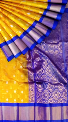 Golden Yellow & Royal Blue Pure Kuppadam Saree with Thick Zari Border-yespoho