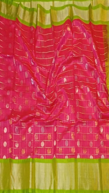 Yespoho Fuscia Pink & Lime Green Pure Kuppadam Saree with Thick Zari Border