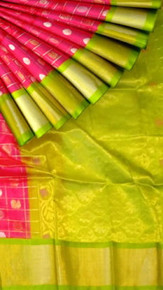 Fuscia Pink & Lime Green Pure Kuppadam Saree with Thick Zari Border-yespoho