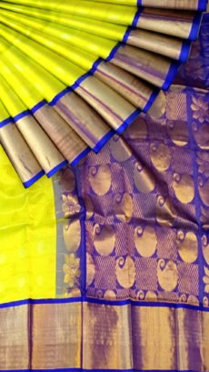 Lemon Yellow & Royal Blue Pure Kuppadam Saree with Thick Zari Border-yespoho