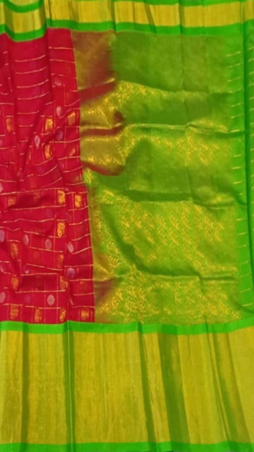 Green Magenta & Green Pure Kuppadam Saree with Thick Zari Border
