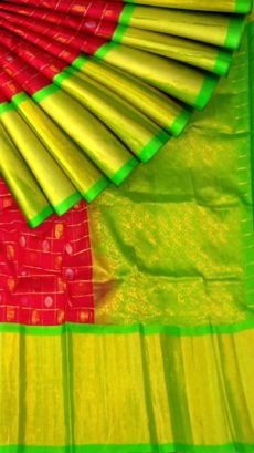 Magenta & Green Pure Kuppadam Saree with Thick Zari Border-yespoho