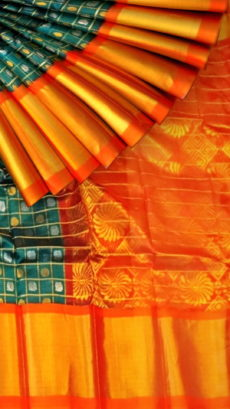 Teal Blue & Orange Kuppadam Saree with Thick Zari Border-yespoho