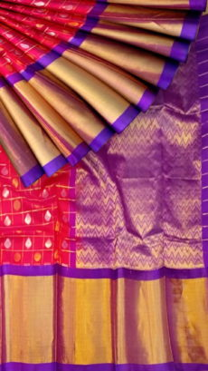 Magenta & Purple Pure Kuppadam Saree with Thick Zari Border-yespoho