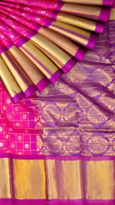 Fuscia Pink & Purple Kuppadam Saree with Thick Zari Border-yespoho
