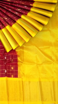 Burgundy & Yellow Kuppadam Saree with Thick Zari Border-yespoho