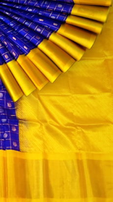 Royal Blue & Yellow Kuppadam Saree with Thick Zari Border-yespoho