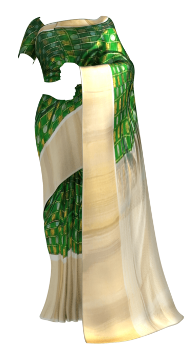 Shop Dark Green & Offwhite Kuppadam Saree with Thick Zari Border Online