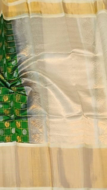 Green Dark Green & Offwhite Kuppadam Saree with Thick Zari Border