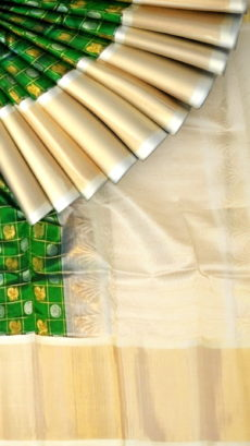 Dark Green & Offwhite Kuppadam Saree with Thick Zari Border-yespoho