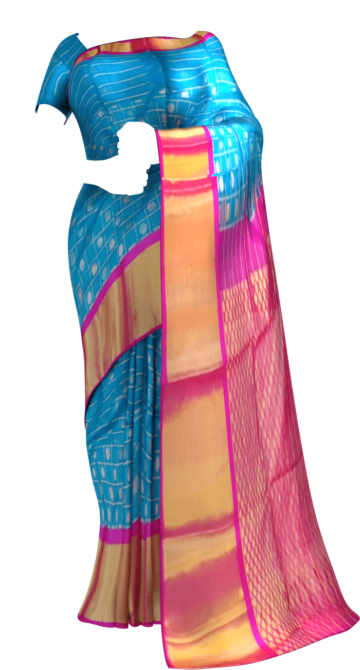 Shop Ananda Sky Blue & Magenta Kuppadam Saree with Thick Zari Border Online