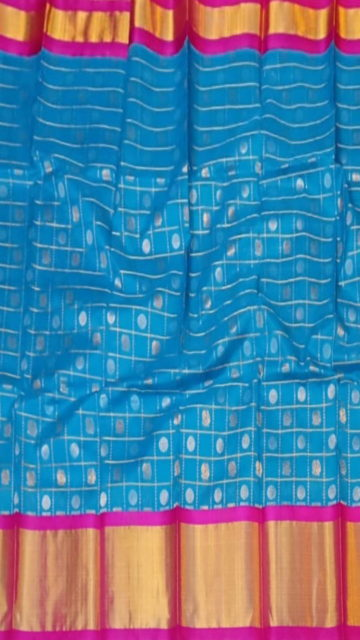 Yespoho Ananda Sky Blue & Magenta Kuppadam Saree with Thick Zari Border