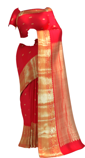 Shop Tomato Red Morning Evening border with flower butta bridal collection pure Kanchipuram silk saree Online