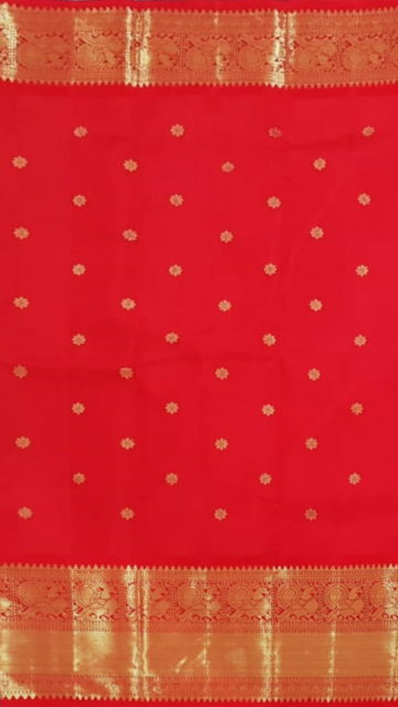 Yespoho Tomato Red Morning Evening border with flower butta bridal collection pure Kanchipuram silk saree
