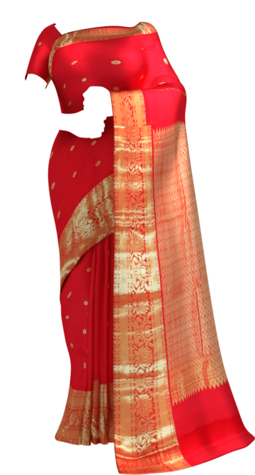 Shop Tomato Red Morning Evening border with flower design bridal collection pure Kanchipuram silk saree Online