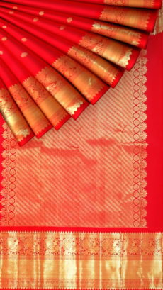 Tomato Red Morning Evening border with flower butta bridal collection pure Kanchipuram silk saree-yespoho