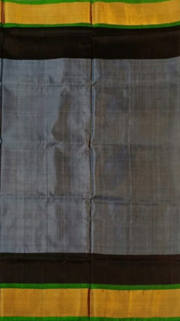 Yespoho Dusty grey with black blouse plain with double border soft silk saree