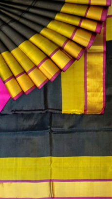 Black Uppada Jamdani Plain saree with plain pattern-yespoho