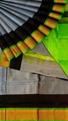 Grey with green blouse plain with double border soft silk saree-yespoho