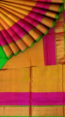 Mustard Uppada Jamdani Plain silk saree with Plain pallu-yespoho