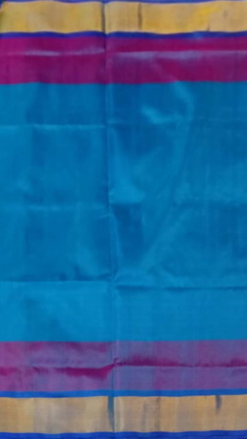 Yespoho Ananda Blue with Royal Blue blouse plain with double border soft silk saree