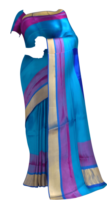 Shop Ananda Blue with Royal Blue blouse plain with double border soft silk saree Online