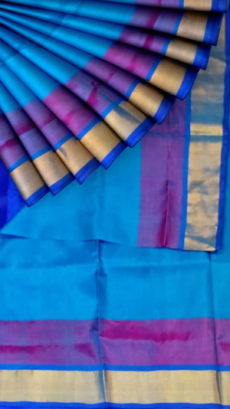 Ananda Blue with Royal Blue blouse plain with double border soft silk saree-yespoho