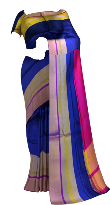 Shop Royal Blue with magenta blouse plain with double border soft silk saree Online