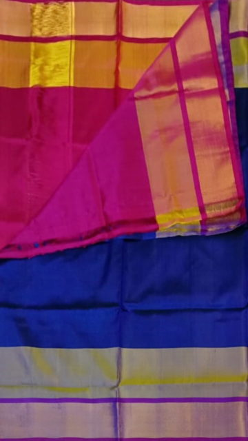 Magenta Royal Blue with magenta blouse plain with double border soft silk saree