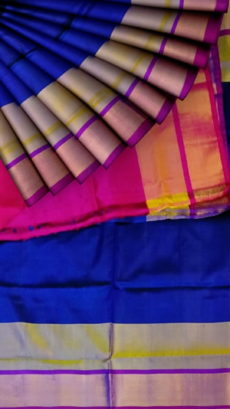 Royal Blue with magenta blouse plain with double border soft silk saree-yespoho