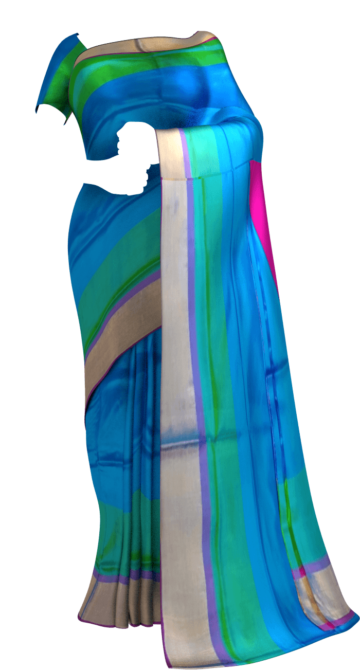 Shop Ananda Blue with magenta blouse plain with double border soft silk saree Online