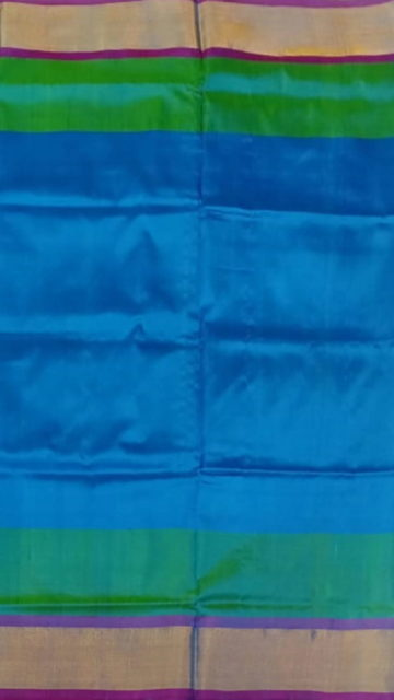 Yespoho Ananda Blue with magenta blouse plain with double border soft silk saree