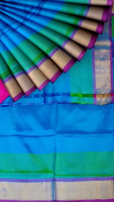 Ananda Blue with magenta blouse plain with double border soft silk saree-yespoho