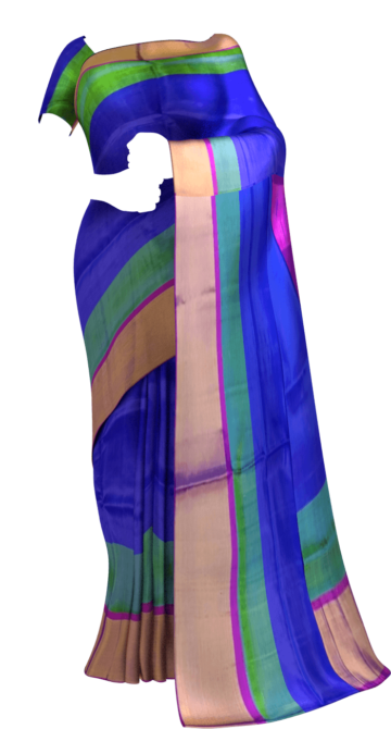 Shop Blue and Magenta Soft Silk Saree With Double border | Yespoho Online