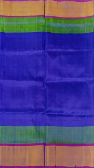 Yespoho Blue and Magenta Soft Silk Saree With Double border | Yespoho