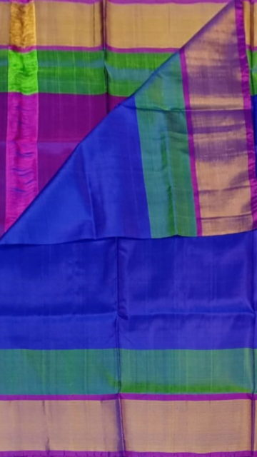 Magenta Blue and Magenta Soft Silk Saree With Double border | Yespoho