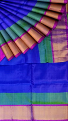 Blue and Magenta Soft Silk Saree With Double border | Yespoho-yespoho