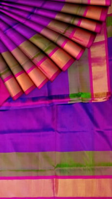 Tomato Red and Violet Uppada Jamdani Plain saree-yespoho