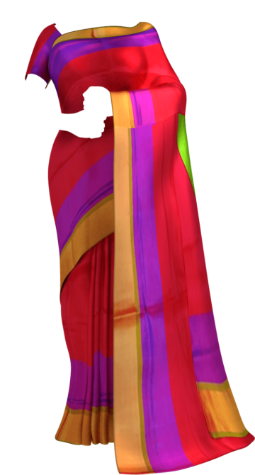 Shop Tomato Red with Green blouse plain with double border soft silk saree Online