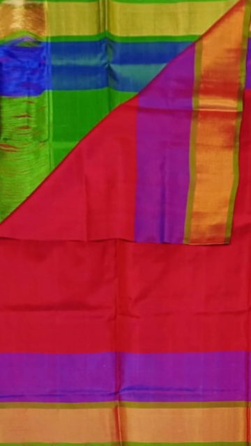 Aqua Green Tomato Red with Green blouse plain with double border soft silk saree