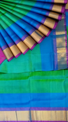 Green Uppada Jamdani Plain saree with plain pattern-yespoho