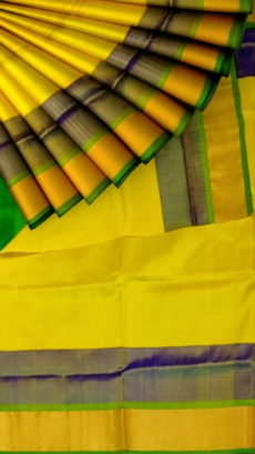 Golden Yellow with green blouse Uppada plain with double border soft silk saree-yespoho
