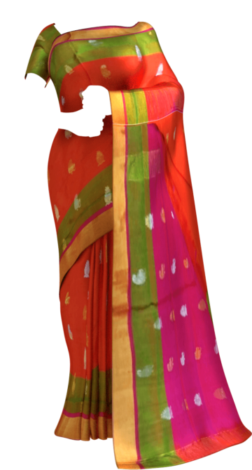 Shop Orange Uppada Soft Silk Butta Saree with Magenta Pallu Online