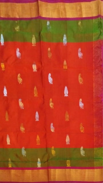 Yespoho Orange Uppada Soft Silk Butta Saree with Magenta Pallu