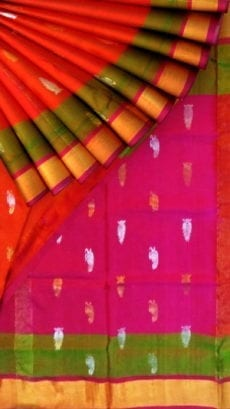 Orange Uppada Soft Silk Butta Saree with Magenta Pallu-yespoho