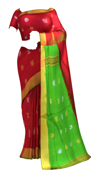 Shop Tomato Red with green full body butta Uppada soft silk saree Online
