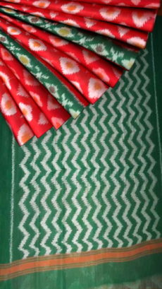 Red Soft Cotton saree with designer Green pallu-yespoho