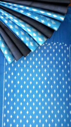 Blue and Black body with blue designer pallu Soft Cotton saree-yespoho